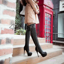 Womens Over Knee Buckle Platform Boots Stiletto High Heels Shoes AU Size DY1490