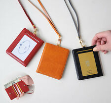 ID Badge Card Holder Unisex Bifold Purse Wallet with Lanyard Necklace NeckStrap