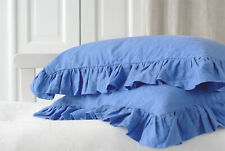 Set of 2 Azure Blue Pure Natural Stone Washed Linen All-Sided Ruffle Pillow Case