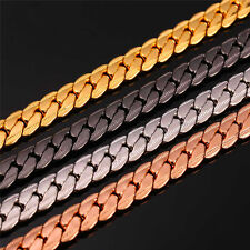 U7 Snake Chain Necklace 18K Gold Plated Cool Men's Jewelry 6MM 9MM 18-32 inches