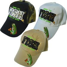 """Born To Fish Forced To Work"" Fishing Baseball Hat - Camo, White or Tan"