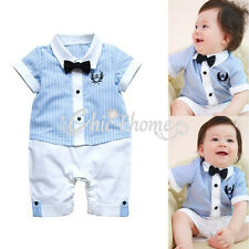 Baby Boy Infant Wedding Stripe Tuxedo Suit Bowtie Romper Bodysuit Outfit Clothes