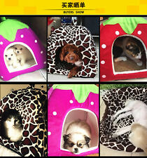 Cute Pet Puppy Dog Cat Bed House Soft Strawberry Kennel Cushion Basket Warm