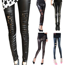 New Womens High Waist Stretch Wet Look Faux Leather Skinny Tight Pants Leggings