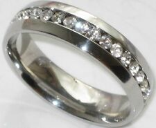 WIDE 6mm men's or ladies cz wedding ring  BAND  str175w