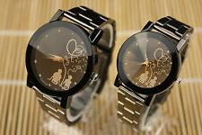 Unisex Lover Couple Print Dial Stainless Steel Watches Quartz Analog Wrist Watch