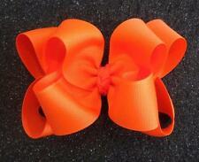 Girls hairbows Big hair bows double layer boutique bow Orange Headband Clip 4 5""