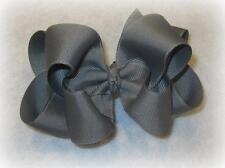 Girls hairbows Big hair bows double layer boutique bow Gray Grey Headband Clip