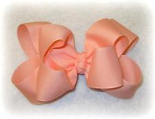 Girls hairbows Big hair bows double layer boutique bow LT Coral Headband Clip 4""