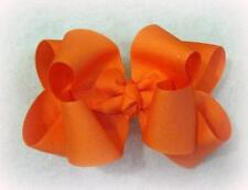 Girls hairbows Big hair bows double layer boutique bow Living Coral Large Clip