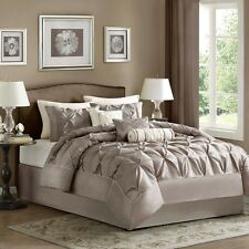 Classy Taupe Comforter with Pillow Shams & Bed Skirt AND Decorative Pillows