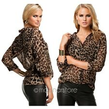 Ladies Women Leopard Print Top Chiffon T Shirt Loose Casual Blouse Long Sleeve