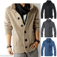 Mens Casual Cardigan Thick Warm Winter Slim Fit Sweater Knitted Jumper Jacket