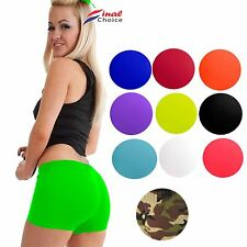 Ladies Womens Sexy Stretchy Neon Lycra Hot Pants Dance Party Gym Summer Shorts •