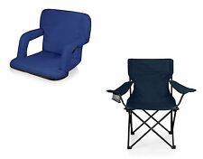 Picnic Time Ventura Seat and PTZ Camp Chair - Navy, Set of 2