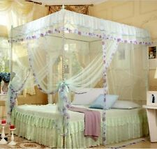 Light Blue 4 Corners Post  Bed Canopy Mosquito Netting Or Frame Twin Queen King