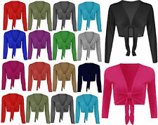 Womens Ladies Plain Long Full Sleeves Front Tie Knot Shrug Stretchy Cardigan Top