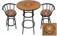 HAND CARVED OAK BAR TABLE SET WITH GLASS TOP AND 2 HORSE THEMED BAR STOOLS