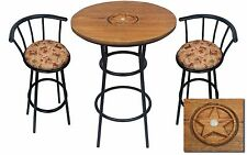 HAND CARVED OAK BAR TABLE SET W/GLASS TOP AND 2 WESTERN THEMED COTTON BAR STOOLS