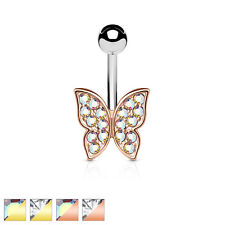 Gold / Rose gold IP Crystal Pave Butterfly Surgical Steel Belly Bar / Navel Ring
