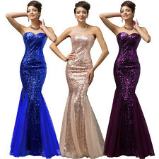 Purple Mermaid Sequins Long Evening Pageant Party Gown Formal Bridesmaid Dress