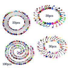 Wholesale Lip/Eyebrow/Navel belly/Tongue Ring bars Rainbow Piercing Body Jewelry