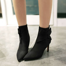 New Women Boots Faux Suede High Heel Zipper Bow Party Pointy Lady Shoes AU Size
