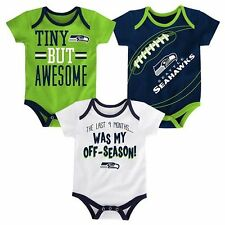 NWT NFL Seattle Seahawks Infant Boy's 3-Pack Bodysuits: 12 & 18 months