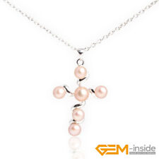 Natural 6mm Freshwater Pearl Round Cross Pendant Charm Necklace Beads 30x42mm