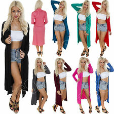 New Womens Long Sleeve Maxi Cardigan Ladies Open Front Boyfriend Cardigan Top