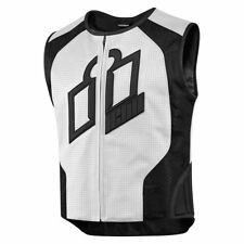 Icon Mens White/Black Leather Hypersport Prime Motorcycle Vest