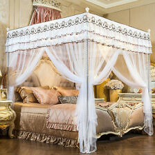 White Princess Hight QC 4 Post Bed Curtain Canopy Mosquito Netting Twin Queen