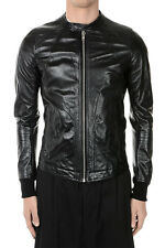 RICK OWENS New Men Black Leather Jacket INTARSIA NWT Original