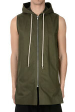 RICK OWENS New Man Cotton HOODIE Sleeveless Jacket Original Made in Italy NWt