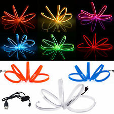 1-5M Waterproof LED Light El Wire Glow String Strip Rope Dance Party +Controller