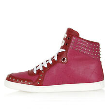 GUCCI Women Leather Studded Fuchsia Sneakers Shoes with Logo Print Made in Italy