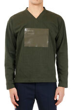 JIL SANDER New Men V Neck Sweatshirt Green with Application Made in Italy