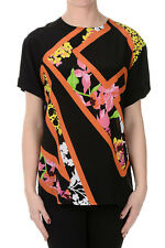 VERSACE New Woman Printed T-Shirt in Silk Short Sleeves Made in Italy NWT