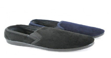 Mens Size 6 -12 Velour Cord SLIPPERS Synthetic Suede Response Navy Black NEW