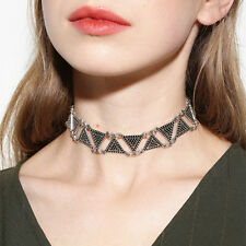 Vintage Antique Gold Silver Triangle Chunky Choker Necklace Bib Statement Collar