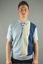 Gabicci Vintage V38GM06 Marco Mens Short Sleeve 3 Button Polo Shirt Blue