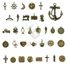 5-250pcs Antique Brass Spacer Pendant Charm DIY Jewelry Findings 37 style CA