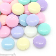 Wholesale Lots HX Candy Color Acrylic Spacer Beads Oblate Mixed 12x5mm