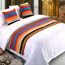 Chic Bed Runner Colorful Striped Style Bed Flag Pillow Cover Hotel Bedroom Decor
