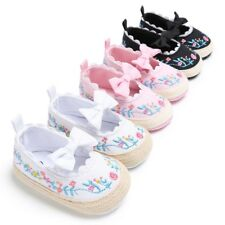 Infant Baby Girl Bow Embroidery Princess Crib Shoes Soft Sole Prewalker 0-18M