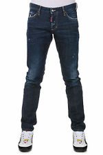 DSQUARED2 New Men Blue Denim cotton Stretch jeans pants Trousers Made in Italy