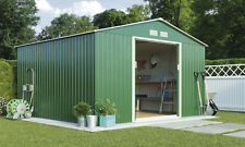9ft x 8ft Outdoor Metal Apex Roof Garden Storage Shed Sliding Doors by Waltons
