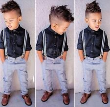 Formal Baby Boys Top T-shirt Bib Braces Pants Trouser Overall Outfit Clothes Set