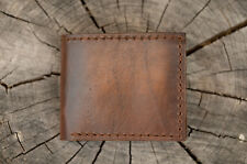 Hand made genuine leather thick men wallet deep dark brown heavy duty last long