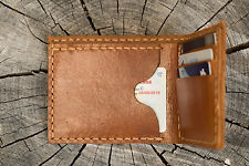 Hand made genuine leather thick men wallet light brown heavy duty last long